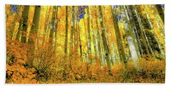 Bath Towel featuring the photograph Golden Light Of The Aspens - Colorful Colorado - Aspen Trees by Jason Politte