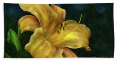Bath Towel featuring the digital art Golden Lily by Lois Bryan