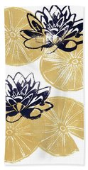 Golden Lily Pads Hand Towel