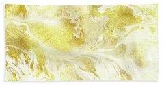 Golden Marble I Gold And White Abstract Art Bath Towel