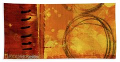 Bath Towel featuring the painting Golden Marks 10 by Nancy Merkle
