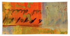 Hand Towel featuring the painting Golden Marks 12 by Nancy Merkle