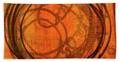 Hand Towel featuring the painting Golden Marks 9 by Nancy Merkle