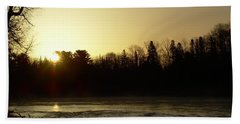 Hand Towel featuring the photograph Golden Mississippi River Sunrise by Kent Lorentzen