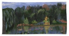 Hand Towel featuring the painting Golden Pagoda by Jamie Frier