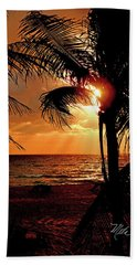 Golden Palm Sunrise Bath Towel