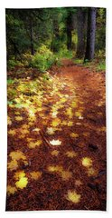 Hand Towel featuring the photograph Golden Path by Cat Connor