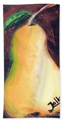 Hand Towel featuring the painting Golden Pear.. by Jolanta Anna Karolska