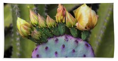 Hand Towel featuring the photograph Golden Prickly Pear Buds  by Saija Lehtonen
