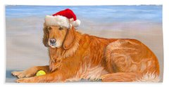 Golden Retreiver Holiday Card Hand Towel