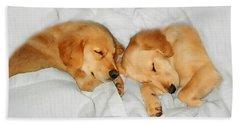 Golden Retriever Dog Puppies Sleeping Bath Towel by Jennie Marie Schell