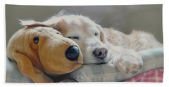 Golden Retriever Dog Sleeping With My Friend Hand Towel