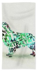 Golden Retriever Dog Watercolor Painting / Typographic Art Bath Towel