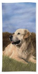 Golden Retriever Painting Bath Towel