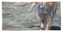Golden Retriever Play Time Hand Towel