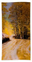Bath Towel featuring the photograph Golden Road by Kristal Kraft