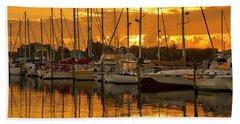 Golden Sailboat Sunrise Over Stuart Marina, Florida Hand Towel