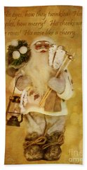 Golden Santa Card 2015 Bath Towel