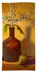 Hand Towel featuring the painting Golden Still Life by Joe Bergholm
