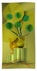 Hand Towel featuring the digital art Golden Still Life by Alberto RuiZ