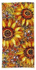 Hand Towel featuring the painting Golden Sunflower by Natalie Holland