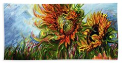 Golden Sunflowers - Harsh Malik Hand Towel