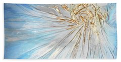 Hand Towel featuring the mixed media Golden Sunshine by Angela Stout