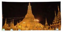 Hand Towel featuring the photograph Golden Temple Of Yangon, Shwedagon Pagoda At Night, Myanmar by Pradeep Raja PRINTS