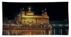 Golden Temple Punjab India Night With Reflection Hand Towel