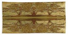 Golden Trees Reflection Bath Towel