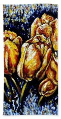 Golden Tulips Hand Towel