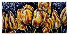 Golden Tulips Hand Towel