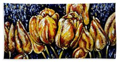Golden Tulips Bath Towel by Harsh Malik