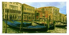 Hand Towel featuring the photograph Golden Venice by Anne Kotan