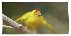 Golden Weaver - Digital Painting Bath Towel