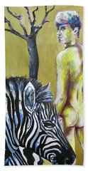 Hand Towel featuring the painting Golden Zebra High Noon by Rene Capone