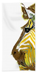 Golden Zebra Bath Towel by Saundra Myles