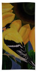 Goldfinch And Sunflower Hand Towel by Jane Axman