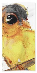 Hand Towel featuring the painting Goldfinch by Dawn Derman