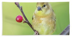 Bath Towel featuring the photograph Goldfinch In The Backyard by Ricky L Jones