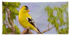 Hand Towel featuring the painting Goldfinch by Joe Bergholm
