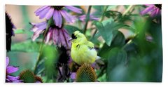 Goldfinch On Coneflowers Bath Towel