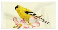 Goldfinch Spring Bath Towel by Angela Davies