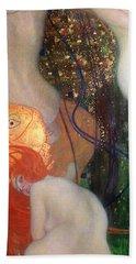 Goldfish Hand Towel by Gustav Klimt