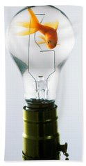 Goldfish In Light Bulb  Hand Towel by Garry Gay