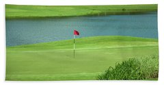 Golf Approaching The Green Hand Towel by Chris Flees