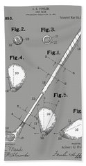 Golf Club Patent Drawing Grey Hand Towel