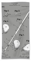 Golf Club Patent Drawing Grey Hand Towel