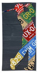 Golfer Silhouette Recycled Vintage Michigan License Plate Art Hand Towel by Design Turnpike
