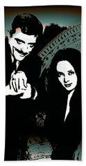Bath Towel featuring the digital art Gomez And Morticia Addams by Joy McKenzie